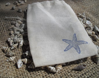 Favor Bags - SET OF 10 3x5 Starfish Muslin Favor Bags Gift Bags or Candy Bags - Item 1339