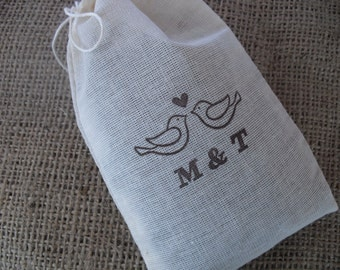 Personalized Love Birds Wedding Favor Bags - Set of 25- 4x6 Gift Bags or Candy Bags - Item 1343