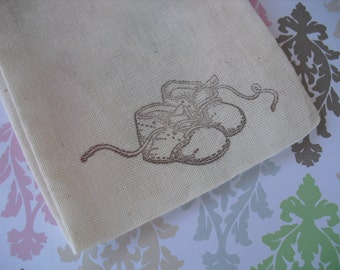 Favor Bags - SET OF 10 Vintage Baby Shoes 4x6 Muslin Favor Bags Gift Bags or Candy Bags - Item 1348