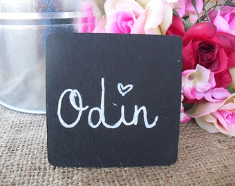 SET OF 10 Square Chalkboard Place Cards Buffet Signs Table Numbers - Item 1371
