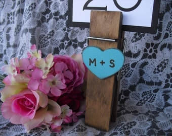 Personalized Jumbo Clothespin Rustic Table Number Holders - Item 1366