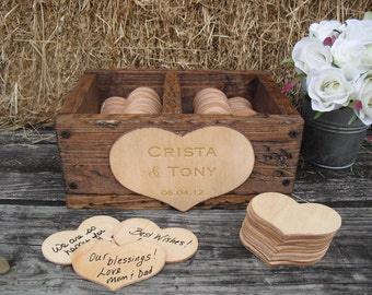 Wedding Guest Book Alternative Rustic Wedding Divided Rustic Barnwood Style Box with Engraved Personalization  - Item 1399