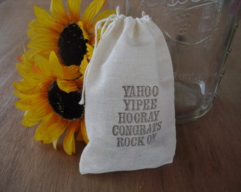 Favor Bags - SET OF 10 Rock On 4x6 Muslin Favor Bags Gift Bags or Candy Bags - Item 1411