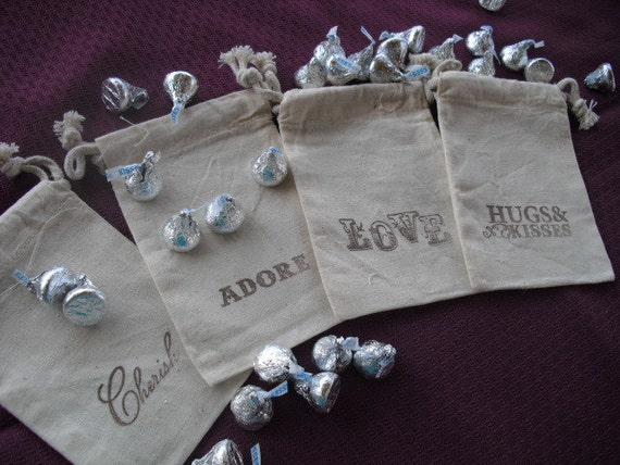 Favor Bags - SET OF 12 Muslin Favor Bags or Candy Buffet Bags - Item 1061