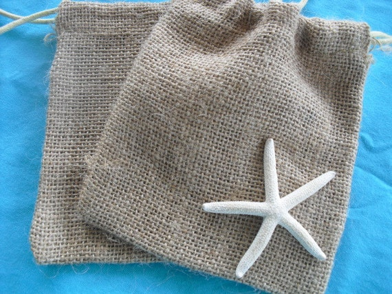 SET OF 100 Starfish Burlap Favor Bags or Candy Buffet Bags - Item 1157