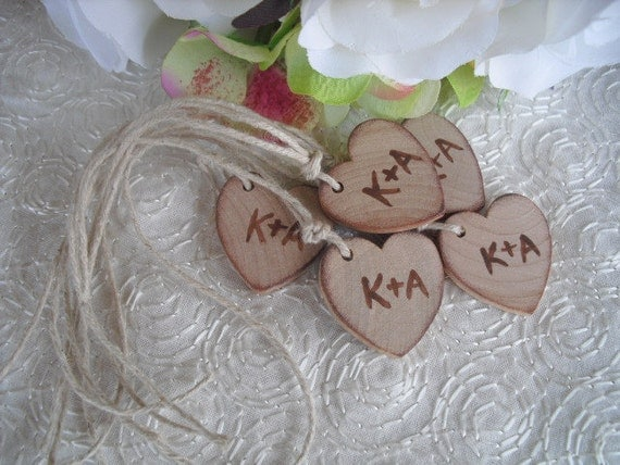 Wedding Favor Tags - SET OF 10 Personalized Initial Rustic Wood Heart Favor or Gift Bag Tags - Item 1040