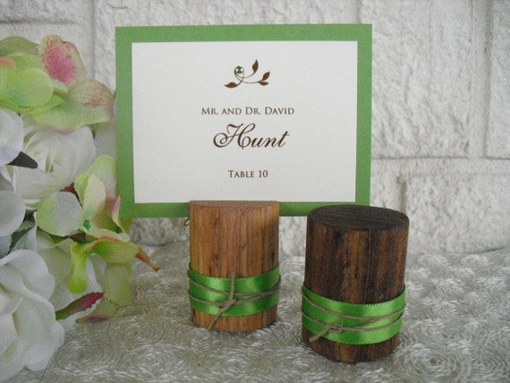Escort Card Holders - SET OF 10 - Rustic Wood Place Card Holders with Ribbon - Item 1024