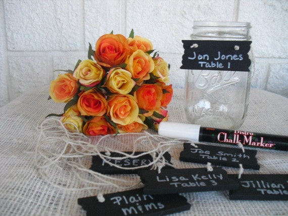 Mini Chalkboards -SET OF 10 Chalkboard Hanging Signs For Candy Bar Signs, Place Cards, Buffet Signs  or Table Number Signs - Item 1014