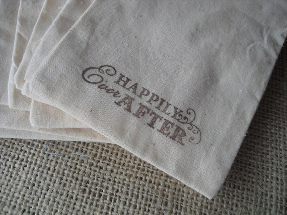 Wedding Favor Bags Happily Ever After Muslin - Item 1117