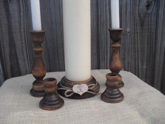 Monogram Rustic Wood Family Unity Candle Set - Item 1126