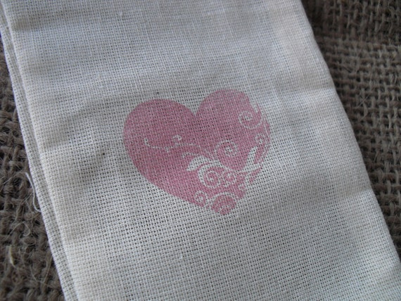 Favor Bags - SET OF 10 3x5 Flourished Heart Muslin Favor Bags Gift Bags or Candy Bags - Item 1304