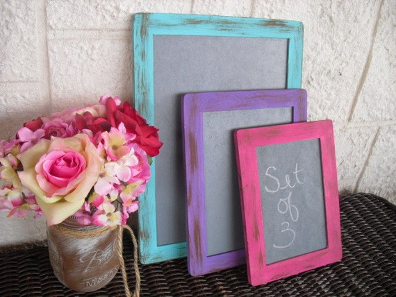 Chalkboards - SET OF 3 Shabby Chic Rustic Distressed Chalkboards for Signs and Table Numbers or Photo Props (You Pick Color) - Item 1169