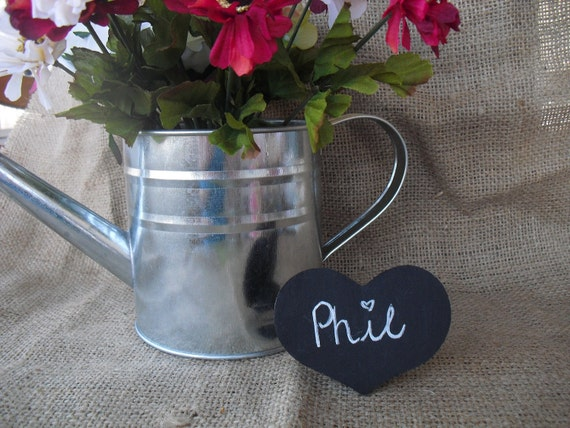 SET OF 10 Heart Chalkboard Place Cards Buffet Signs Table Numbers - Item 1372