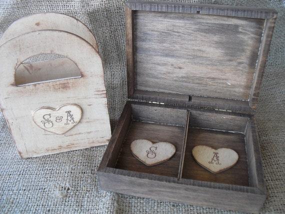 Wedding  Ring Bearer Box and Flower Girl Box Set  Rustic- Item 1365