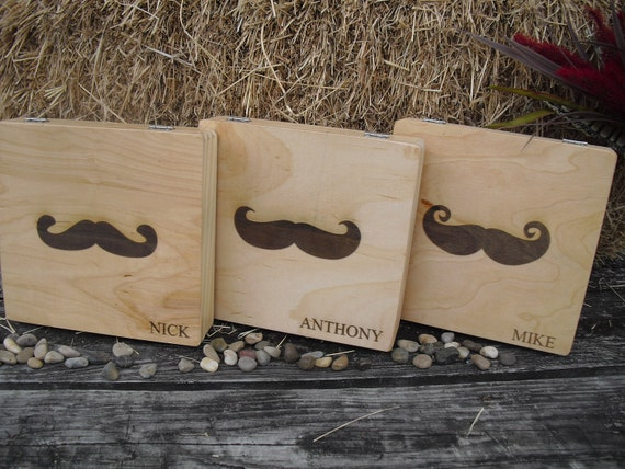 Personalized Engraved Mustache Cigar Box Groomsmen Gifts - Set of 6 - Item 1397