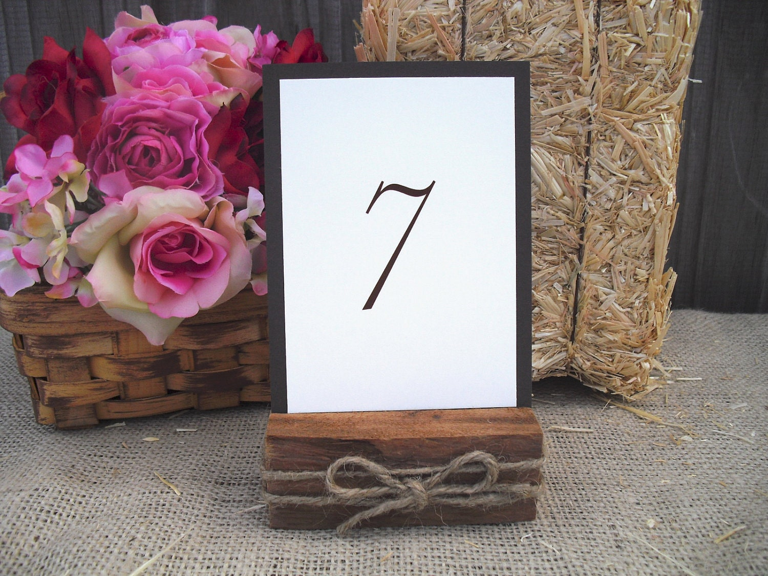 🔎zoom - Table Number Holders Cedar And Rope Rustic Wood Table Number