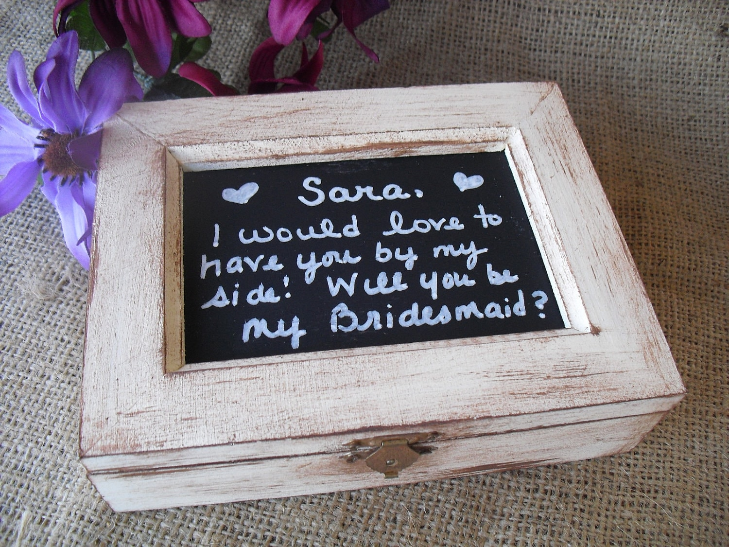 Bridesmaids Wedding Gifts: Shabby Chic Chalkboard Bridesmaid Gift Boxes Jewelry Box