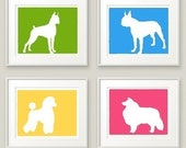 Your Choice of 4 Dog Prints - Set of Four 8x10 prints in any colors - Discounted price
