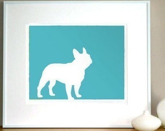 French Bulldog Silhouette Frenchie Fine Art Print 11 x 13 Mod Dog Decor in your choice of color