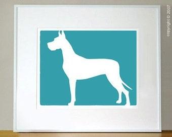 Mod Great Dane Dog Fine Art Print 8x10