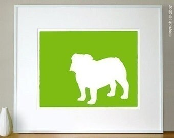 Mod English Bulldog Modern Silhouette Fine Art Print - 8x10