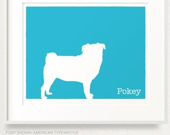 Mod Pug Dog Personalized Silhouette Art Print - 8x10