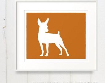 Mod Min Pin Dog - Miniature Pinscher Art Print 8x10