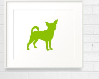 Mod Chihuahua Fine Art Print - Color Silhouette on White Background - 8x10