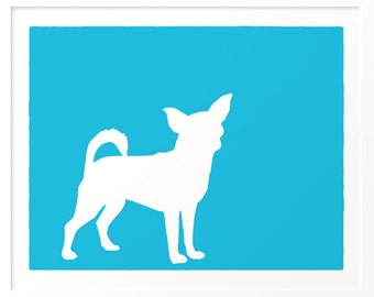 Mod Chihuahua Fine Art Dog Print Silhouette - 5x7