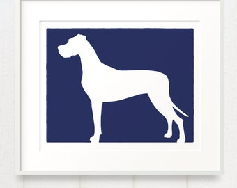 Mod Great Dane - Natural Ears - Dog Silhouette Fine Art Print 8x10