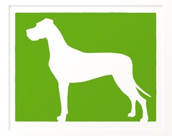 Mod Great Dane - Natural Ears - Dog Silhouette Fine Art Print 11x13