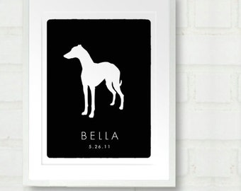 Personalized Whippet Dog Silhouette Print with Custom Name - 8x10 Keepsake
