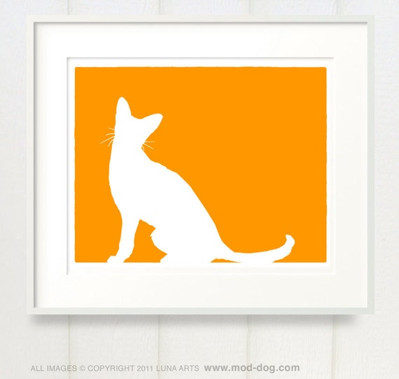 Abyssinian Cat - Mod 8x10 Fine Art Silhouette Print in your choice of color