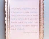Marilyn Monroe Quote - At My Best - 8 x 10 Print in Light Blue and Gray