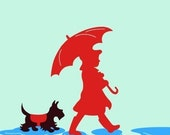Two Puddle Jumpers - 8 x 10 Girl and Her Scottie Dog Terrier