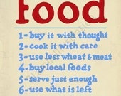 Sale Food Buy It With Thought US Food Administration 11 x 14 Print Red Blue
