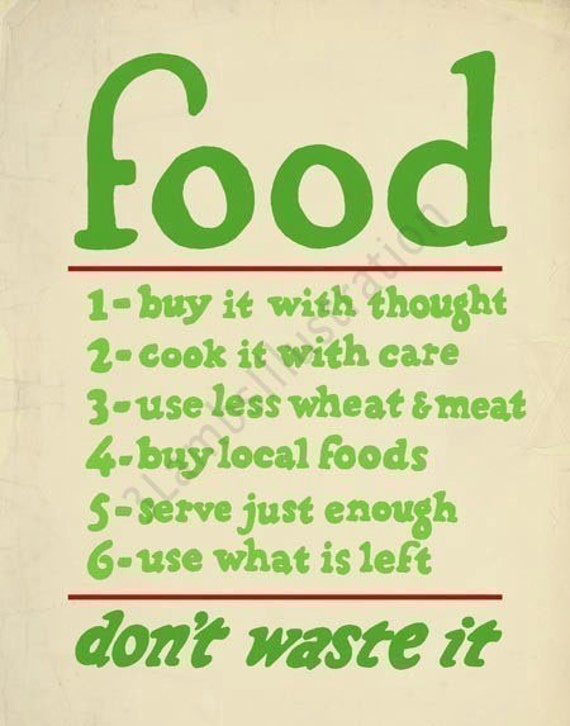 Sale Food Buy It With Thought Vintage-Inspired 11 x 14 Print Green Red