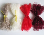 polka dot tulle fabric sample - mink/vanilla/red OR burgundy