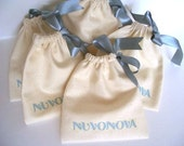 5 custom printed unbleached cotton pouches  - 4 x 4.5