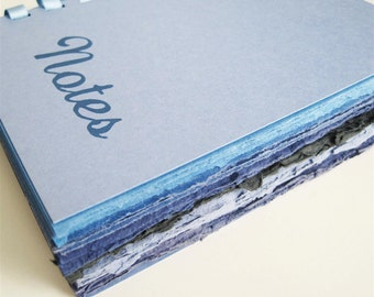 Notes - blank blue notebook with handmade khadi paper