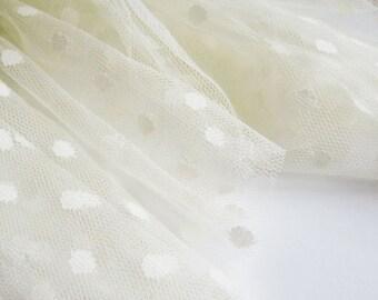 "Vanilla spot tulle fabric - 44"" wide - sold per metre"