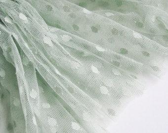 "Pistachio spot tulle fabric - 44"" wide - sold per metre"