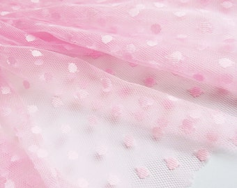 """Neon pink spot tulle fabric - 44"""" wide - sold per metre"""