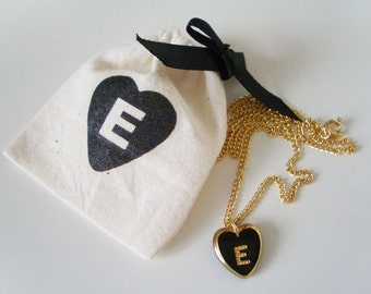 E - vintage initial heart necklace with matching pouch