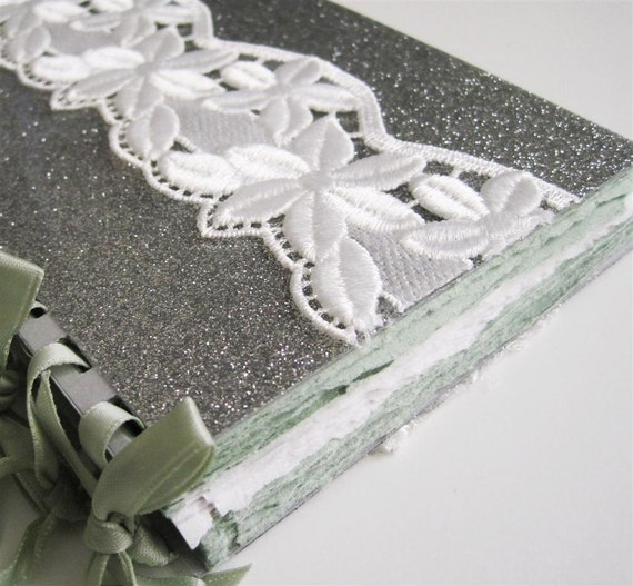 Lace, glitter and tea green - blank ribbon-bound notebook
