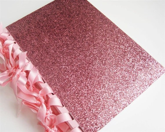 Pink glitter - blank ribbon-bound notebook with white & pink card