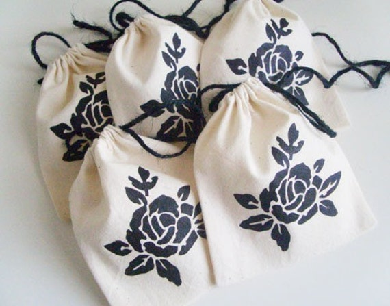 5 Onyx Black Rose Gift / Presentation Cotton and Jute Pouches - 4 x 4.5