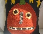 Primitive Pumpkin with Stars Pillow