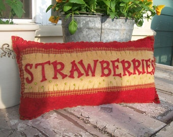 Vintage Style Strawberry Pillow