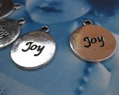 Clearance Silver Finish Cast Embossed JOY Charms 608SIL x4